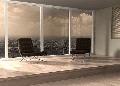 cityscapes, architecture, window, buildings, interior, chairs - desktop wallpaper