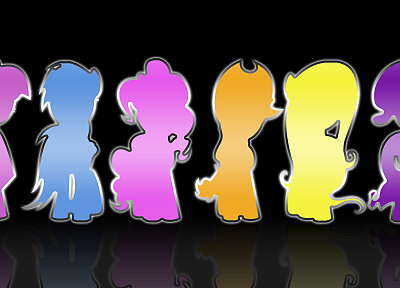 silhouettes, reflections, My Little Pony: Friendship is Magic, Mane 6 - random desktop wallpaper