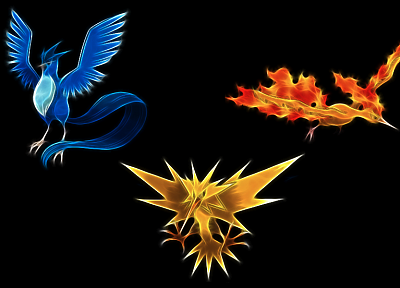 Pokemon, Zapdos, Articuno, simple background, Moltress, black background - random desktop wallpaper