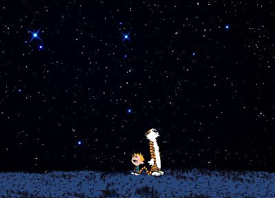 outer space, stars, Calvin and Hobbes - random desktop wallpaper