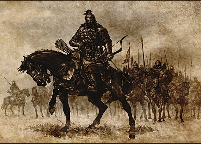 army, archers, horses, Mount&Blade, artwork, medieval - related desktop wallpaper
