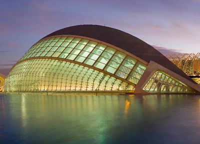 architecture, buildings, Valencia, Calatrava, exterior, windowed facade, curvilinear design - random desktop wallpaper