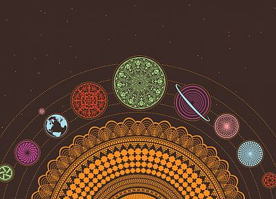 Solar System, planets, Earth, psychedelic, scheme, chakra, esoteric - desktop wallpaper