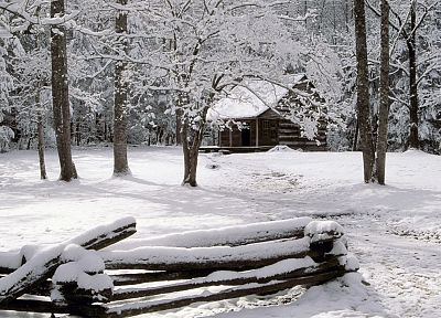 mountains, winter, snow, Tennessee, cabin, National Park - related desktop wallpaper