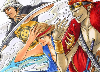 One Piece (anime), Eustass Kid, Monkey D Luffy, Trafalgar Law - random desktop wallpaper
