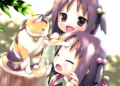cats, twins, closed eyes, anime girls, Garden (Cuffs), Kasuga Nadeshiko, Kasuga Sakurako - random desktop wallpaper