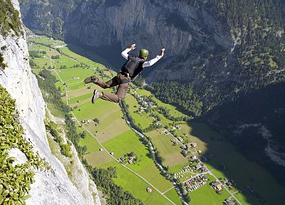 Switzerland, extreme sports, BASE Jumping, arms raised - random desktop wallpaper