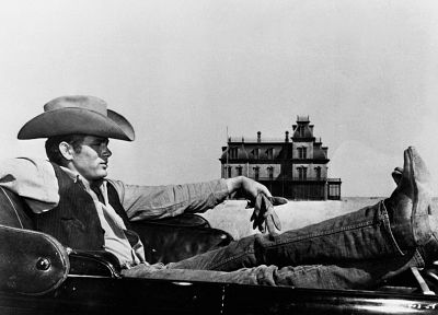 old, houses, men, grayscale, monochrome, actors, James Dean, hats - related desktop wallpaper