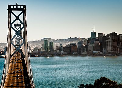 cityscapes, bridges, buildings, city skyline, rivers, suspension bridge - related desktop wallpaper