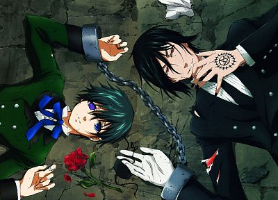 brunettes, flowers, suit, ribbons, Kuroshitsuji, Ciel Phantomhive, Sebastian Michaelis, anime, anime boys, chains - related desktop wallpaper