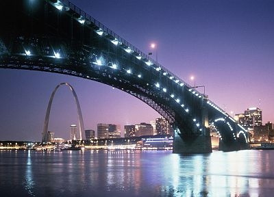 cityscapes, bridges, St Louis, dusk, St. Louis Arch, Eads Bridge - related desktop wallpaper
