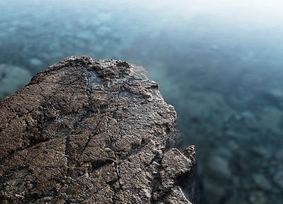 water, rocks, stones, cliffs, depth of field - random desktop wallpaper
