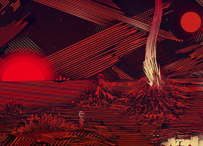 outer space, red, Mars, artwork, Matei Apostolescu - random desktop wallpaper