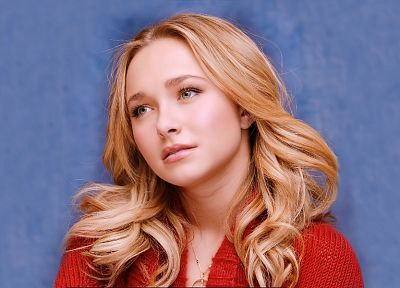 blondes, women, actress, Hayden Panettiere, celebrity, faces, blue background - related desktop wallpaper