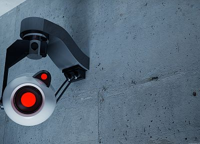 Valve Corporation, Portal, eyes, wall, cameras, Big Brother - desktop wallpaper
