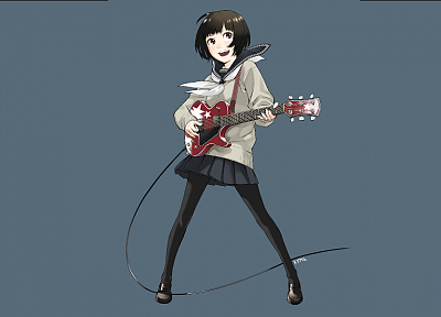 school uniforms, schoolgirls, skirts, brown eyes, pantyhose, short hair, instruments, guitars, smiling, blush, open mouth, electric guitars, ahoge, simple background, anime girls, Kozaki Yusuke, sailor uniforms, wires, blue background, bangs, black hair,  - desktop wallpaper