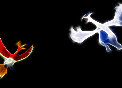Pokemon, Lugia, Ho-oh, black background - random desktop wallpaper