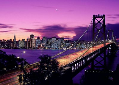 cityscapes, night, California, San Francisco, Bay Bridge, Oakland Bay - desktop wallpaper