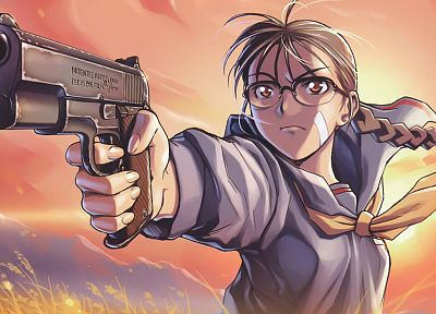 women, pistols, Black Lagoon, guns, glasses, Roberta (character), girls with guns, anime girls, Hiroe Rei (Artist) - random desktop wallpaper