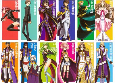 Code Geass, Kururugi Suzaku, Stadtfeld Kallen, Alstreim Anya, Lamperouge Nunnally, Lamperouge Lelouch, C.C., Lamperouge Rolo - random desktop wallpaper