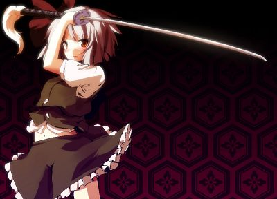 video games, Touhou, katana, purple, skirts, weapons, brown eyes, Konpaku Youmu, short hair, blush, bows, navel, white hair, swords, ornaments - related desktop wallpaper
