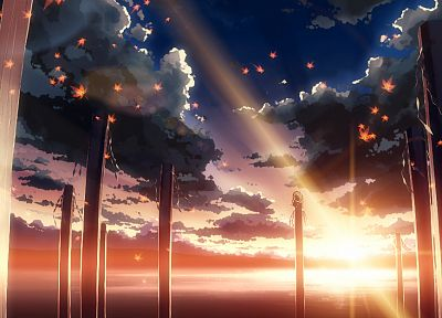 water, sunset, clouds, landscapes, nature, Touhou, Sun, autumn, leaves, silhouettes, Goddess, sunlight, scenic, sitting, maple leaf, lakes, logs, Yasaka Kanako, skyscapes, shimenawa, onbashira, ropes, Yuuki Tatsuya - related desktop wallpaper