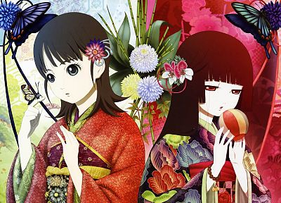Jigoku Shoujo, Enma Ai, Japanese clothes, anime girls, hair ornaments, bangs, black hair - desktop wallpaper