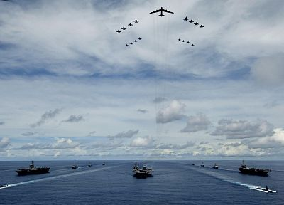 ocean, clouds, aircraft, skylines, submarine, vehicles, aircraft carriers - related desktop wallpaper