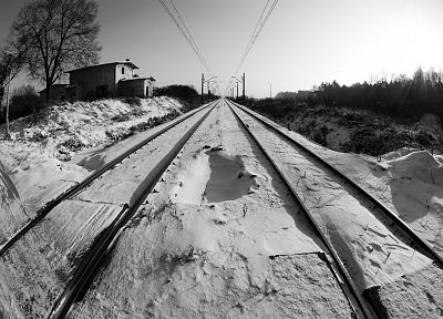 winter, monochrome, railroads - random desktop wallpaper