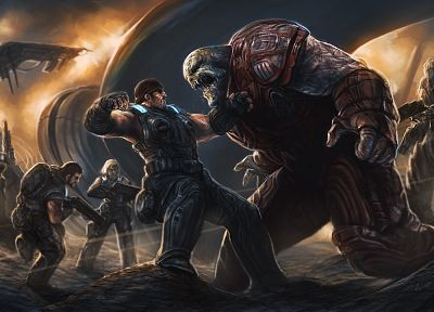 video games, Gears of War, PC, fantasy art, battles, artwork, Gears Of War 3, Marcus Fenix, pc games - related desktop wallpaper