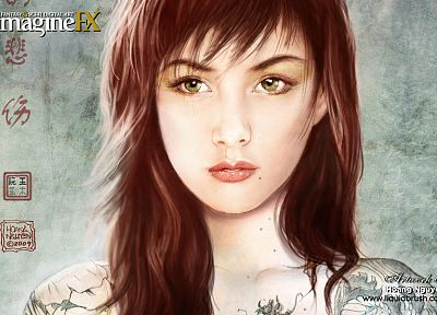 tattoos, women, green eyes, portraits, imagine fx - related desktop wallpaper