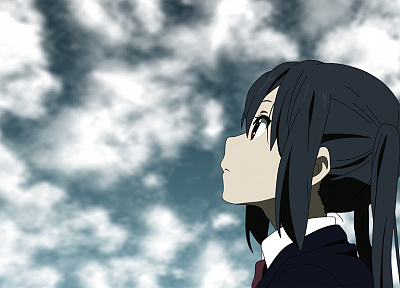 K-ON!, school uniforms, tie, long hair, red eyes, twintails, Nakano Azusa, profile, anime girls, faces, black hair, looking up, skies, blazer - random desktop wallpaper