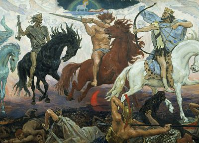 paintings, apocalypse, horses, Viktor Vasnetsov - random desktop wallpaper