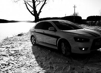 cars, monochrome, vehicles, Mitsubishi Lancer - random desktop wallpaper