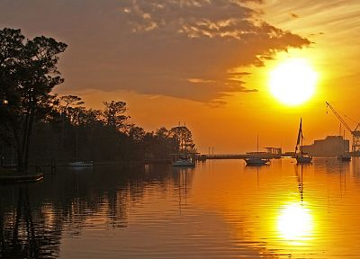 sunset, landscapes, Sun, boats, vehicles - related desktop wallpaper