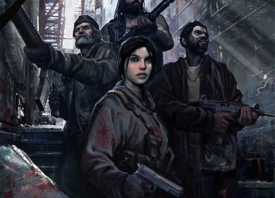 video games, post-apocalyptic, blood, weapons, Left 4 Dead, concept art, artwork - related desktop wallpaper