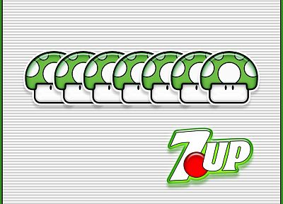 Mario, mushrooms, Super Mario Bros., 7up, punny - related desktop wallpaper