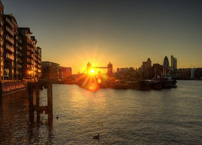 sunset, cityscapes, architecture, skyscrapers, Tower Bridge - related desktop wallpaper