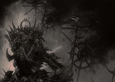 video games, Warhammer, monochrome, artwork - desktop wallpaper