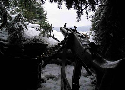 snow, machine gun, guns, World War II, mauser, hidden, Mg 42, 8x57mm Mauser, 7.92x57mm Mauser - desktop wallpaper