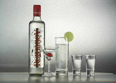 vodka, bottles, alcohol, liquor, gray background - related desktop wallpaper