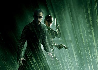 movies, Neo, Matrix, Trinity, Keanu Reeves, Carrie-Anne Moss, the one - random desktop wallpaper