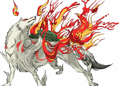 flames, fire, Okami, Amaterasu, wolves - random desktop wallpaper