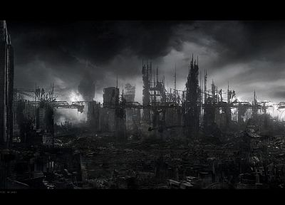 clouds, gray, destruction, buildings, apocalypse - random desktop wallpaper