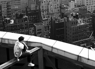 men, buildings, grayscale, monochrome, parkour, traceurs - related desktop wallpaper