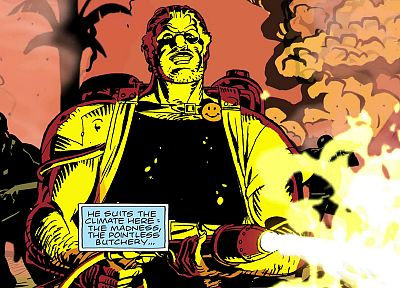 Watchmen, war, comics, flamethrower, The Comedian - desktop wallpaper