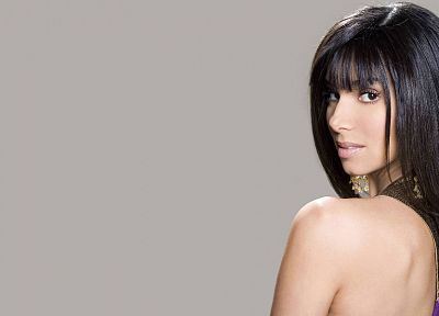 brunettes, women, Roselyn Sanchez, simple background - random desktop wallpaper