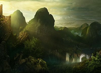 fantasy, mountains, landscapes, waterfalls, 3D - desktop wallpaper