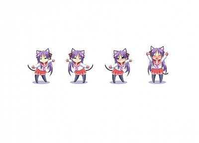 Lucky Star, school uniforms, Hiiragi Kagami, nekomimi, simple background - random desktop wallpaper