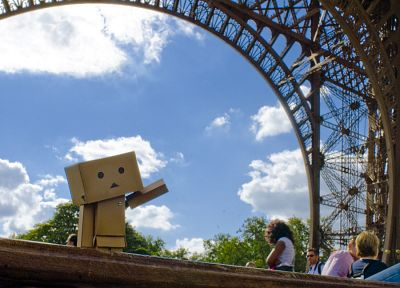 Eiffel Tower, clouds, Danboard - related desktop wallpaper